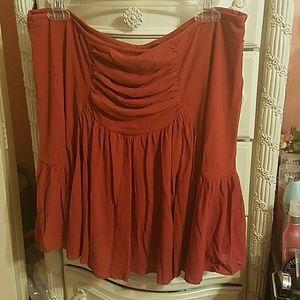 Rust colored ruffled mini skirt